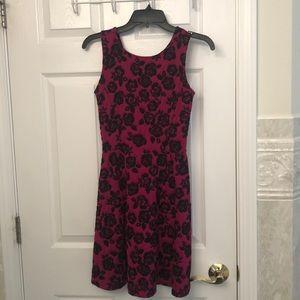 Magenta and Black Rose Pattern Dress